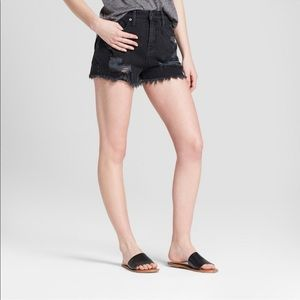 Mossimo Black High Rise Distressed Jean Shorts